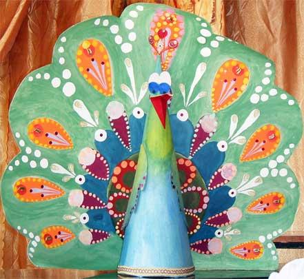 Купить украшение из бисера: Серьги - 'Павлины'.  Дизайн - Елена.
